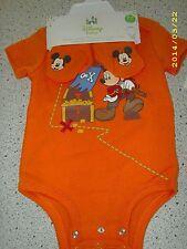#1383 DISNEY BABY ORANGE SHORT SLV BODYSUIT & BOOTIES BOY INFANT 6-9 MO NEW