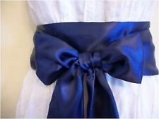 "3.5x100"" NAVY BLUE SATIN SASH BELT SELF TIE  BOW for BRIDAL WEDDING PARTY DRESS"