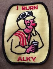 Vintage Patch NOS I Burn Alky 70s Beer Rat Hot Rod Muscle Car Racing Drag Funny