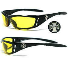 Choppers Bikers Riding Sunglasses - Black Frame Night Driving Lens C46