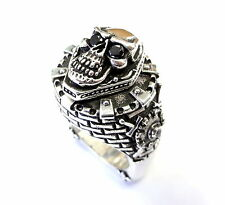 Night's Watch Castle Skull Ring With Black Diamonds By Sacred Angels