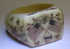 ANTIQUE EARLY 19th c  SCRIMSHAW RING W/AMERICAN FLAGS AN 1812 COMMODORE ESTATE