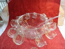 VINTAGE JEANETTE GLASS CRYSTAL PUNCH BOWL,12 CUPS,12 HOOKS, LADLE, ORIGINAL BOX