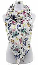 Brand New Ladies Scarf Shawl Sarong Wrap Colorful Butterfly Print