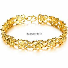 Noble Gold Tone Womens Love Hand Chain Wristband Hearts Link Bracelet