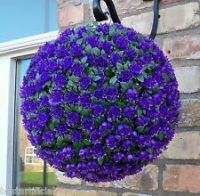 Best Artificial 28cm Purple Rose Topiary Hanging Flower Ball Grass Plant New