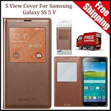 Leather Flip Wallet Case Window Smart S-View Cover for Samsung Galaxy S5 V Gold