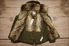 sale ZARA Khaki Faux Fur Contrast Hooded Winter Parka Jacket Size L UK 12