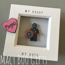 Personalised Gift Present Lego Frame Superhero Dad Daddy Grandad Captain America