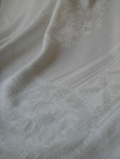 Antique French Pure damask Floral Textile Tablecloth/Bed Overlay Linen 141x166cm
