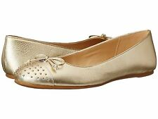 COACH Doreen Platinum Metallic Tumbled Flats Shoes Gold Studded Cap Toe SZ 6