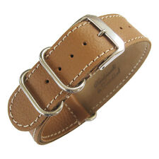 22mm Fluco Germany 2-Piece Mens Tan Leather MoD G10 Military Watch Band Strap