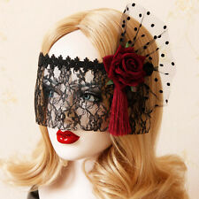 Sexy Red Rose Tassel Flower Lace Masquerade Face Eye Mask Gothic Headband Party