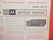 1967 MOTOROLA AUTO RADIO FM CONVERTER SERVICE SHOP REPAIR MANUAL BROCHURE FM67M
