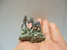 Miniature Metal Donkey/Mule & miner Art on Shining Metallic Stibnite Mineral