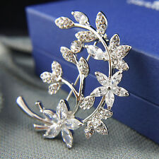 18k white Gold GF Swarovski crystals elements filigree leaf brooch pin