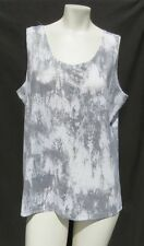 CHICO'S USA White Gray Silver Snakeskin Knit Scoop Tank Top size L 3 14 16