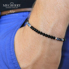MEGBERRY Mens Black Onyx, Obsididian, Sterling Silver Stretch Bracelet UK Seller
