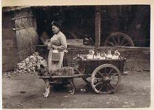 BELGIUM Milk Lady & Dog Cart - Antique Photograph c1900