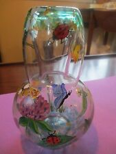 Vintage Handpainted Glass Bedside Water Carafe Decanter Cup Set