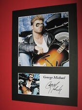 GEORGE MICHAEL A4 PHOTO MOUNT SIGNED REPRINT AUTOGRAPH WHAM LADIES & GENTLEMEN