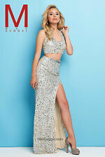 Authentic Mac Duggal Dress 4356  -- Color: Nude/Silver -- Size: 6