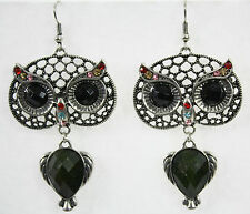 Jumbo huge metal hoot owl dangle drop earrings silver dk green gem body big eyes
