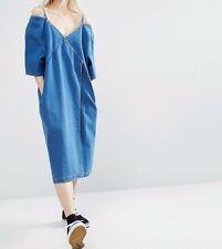 BRANDED Denim Wrap Off Shoulder Casual Oversize Dress in Blue UK 18/EU 46/US 14