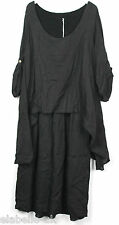 New Ladies Plus Size Italian Lagenlook Quirky Linen Layered Asymmetrical Dress