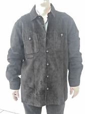 Men's VTG Black Suede 100% Leather Long Shirt Coat Jacket LT