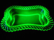 Green Vaseline glass Jam soap Dish Uranium bowl yellow relish celery tray plate
