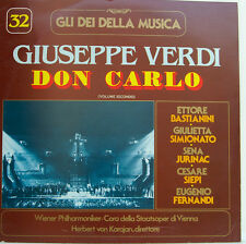 "32 VERDI DON CARLOS VOLUME SECONDO BASTIANINI HERBERT VON KARAJAN 12"" LP (d205)"