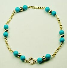 14k solid yell/gold lightweght natural Arizona turquoise bracelet 7 inches long