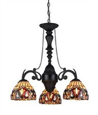 Mission Arts & Crafts 3 Light Chandelier Ceiling Lamp Beautiful Stained Glass