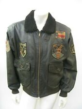 Vintage A-2 Style Leather Flight Jacket Patched Blood Chit Size LARGE