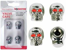 4x Screw on Skull Valve Caps Chrome Effect With Red Eyes Car Bike Van Brand New