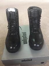 Kenneth Cole Unlisted Imagination Combat Men's Boots Black Leather Size 10 Shoes
