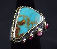 Bora Yasar Oxidized Sterling Silver Ring Persian Turquoise Gemstones Handcrafted
