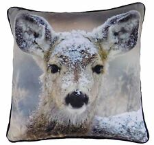 "WINTER SNOW DEER BROWN WHITE 17"" 43CM VELVET PIPED CUSHION COVER"