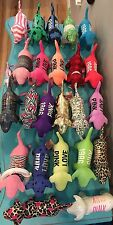 Victoria Secret Pink Plush Stuffed Dog Lot Metallic Floral StripesSome With Tags