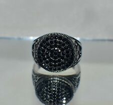 2.65 ct NATURAL BLACK TOPAZ  MEN`S .925 STERILING SILVER RING COCKTAIL SIZE 8