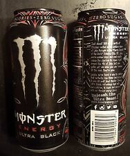 2x Monster Energy Drink 16oz ULTRA BLACK 2015 New Release Cans - Full