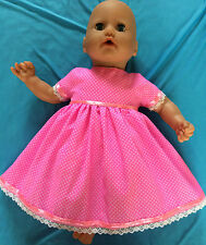 bright pink with tiny white dots dress to fit baby born/annabel or similar size