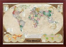 Framed World Map Old World Triple View in Premium Brown Finished Wood