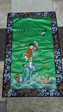 ANTIQUE CHINESE GOLD STITCHES SILK EMBROIDERY OF A BOYPLAYING,FROG &BIRD