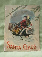 Antique 1901 McLoughlin Bros. A VISIT FROM SANTA CLAUS Christmas Book Color