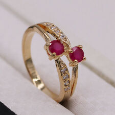 Red Ruby Crystal Rhinestone 18K Gold Plated Ring Fashion Women Jewelry Size 9