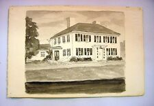 1930-40's C.Palmer Gouache & Watercolor Painting of a Mansion in New England