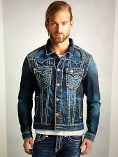 TRUE RELIGION MEN JIMMY SUPER-T DENIM JACKET CPTD DRY BRUSH MR62NTW9 NWT M $369