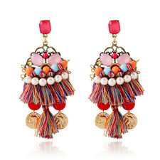 New Brand Design Fashion Bohemia Tassel Flower Rhinestone Women Bangle Earrings